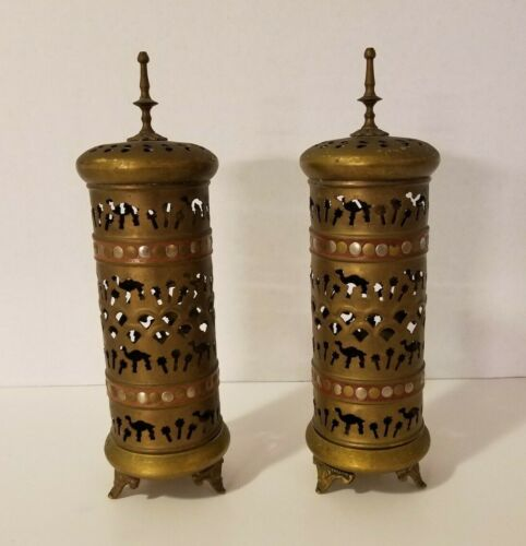 """Set of 2 Vintage Brass Footed Carriage Candle Lantern Camel Palm Trees 12 1/4"""""""