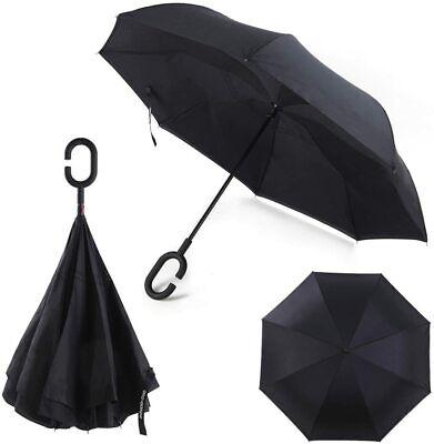 Paraguas Sistema de Cierre Invertido Plegable Antiviento Manos Libres