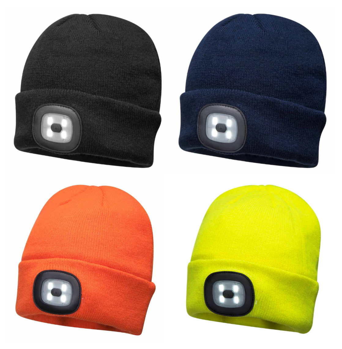 1x LED Beanie USB Rechargeable Twin Torch Lighting Cap Head Light Hat Bike Black
