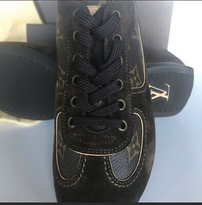 Authentic Louis Vuitton Signature Monogram Suede Tennis Sneakers Shoes Size 6