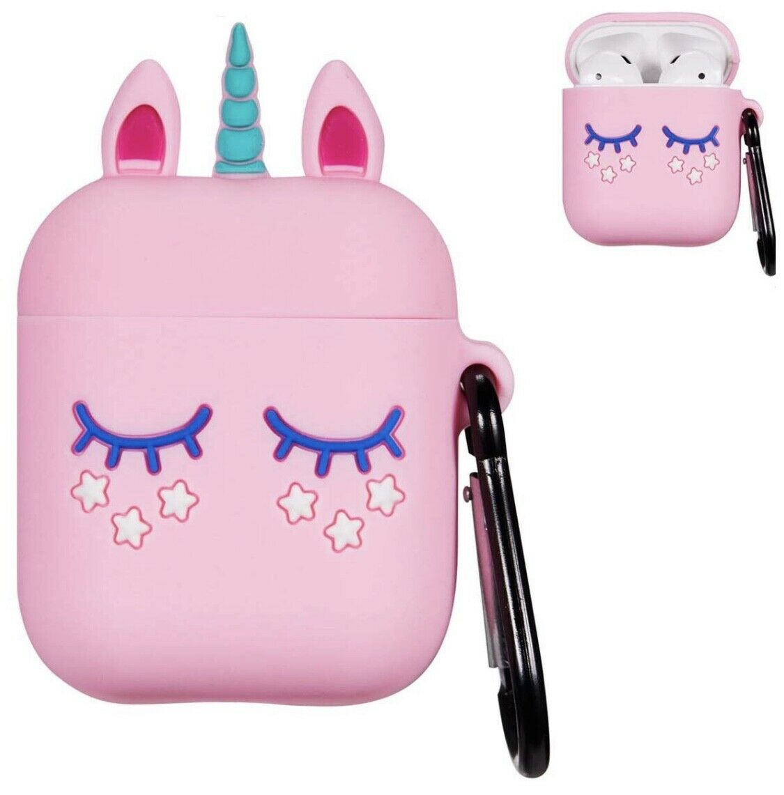 Pink Unicorn Airpod Case for Apple Airpods Cute 3D Soft  Silicone with KeyChain Cases, Covers & Skins