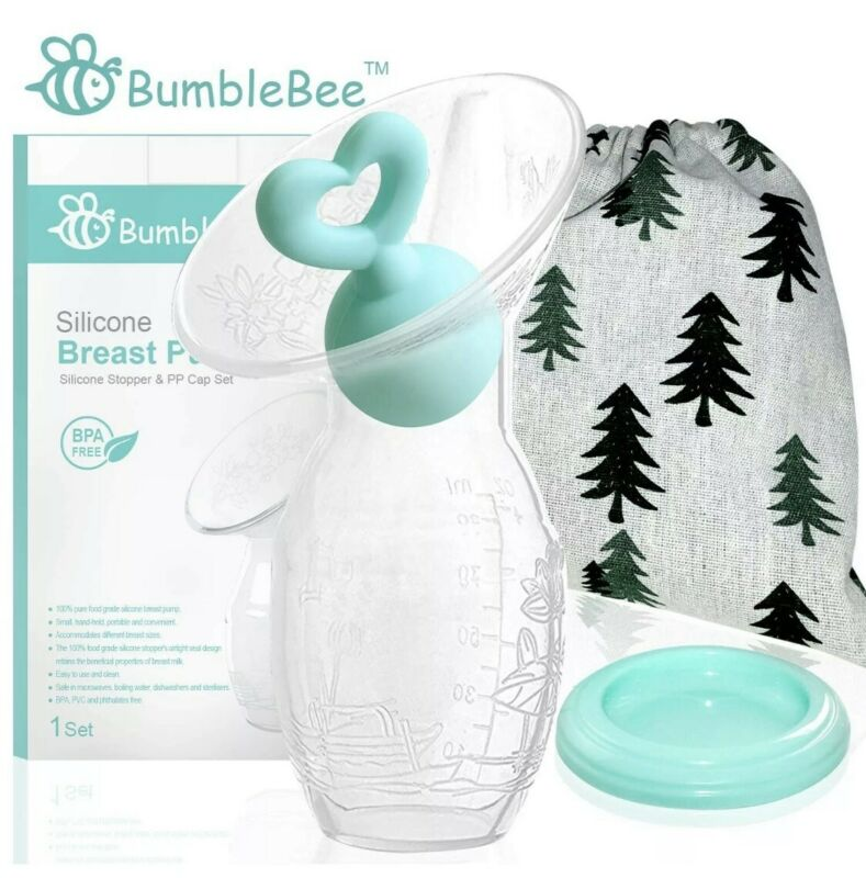 Bumblebee silicone manual breast pump, heart shape silicone stopper; Haakaa like