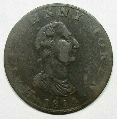 NS-8A1 Halfpenny token 1814 Canada Nova Scotia Breton 880