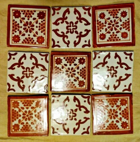 9 Mexican Talavera Terracotta tiles 4x4 Decorative Folk Art Handmade Hand Paint