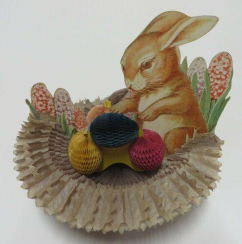 Vintage Easter Eggs & Basket Foldout Honeycomb Accordian Centerpiece Beistle