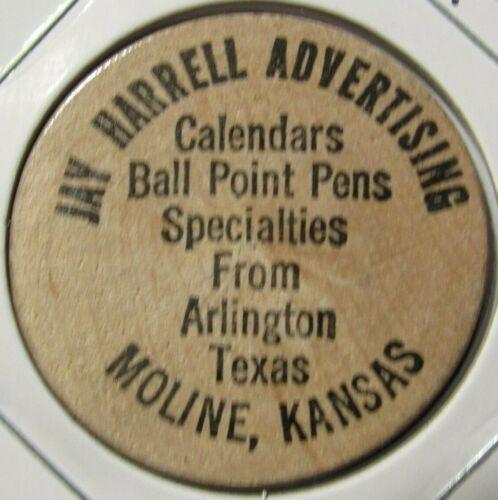 Vintage Jay Harrell Advertising Moline, KS Wooden Nickel - Token Kansas