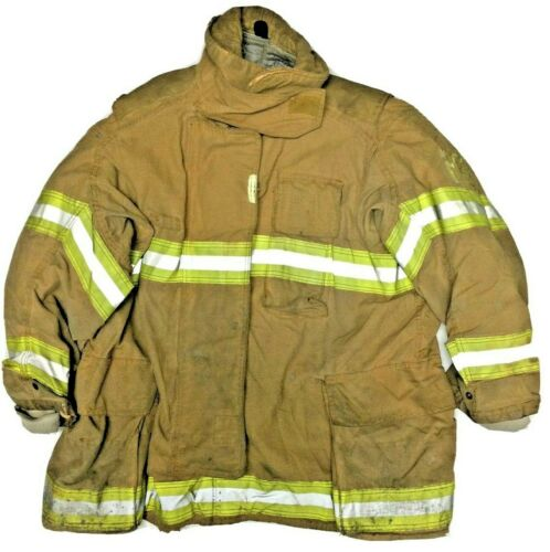 52x35 52T Securitex Firefighter Brown Turnout Jacket Coat with Yellow Tape J920