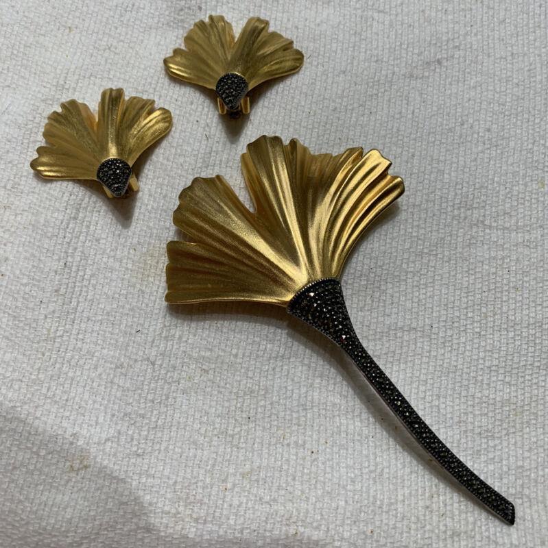 Vintage Judith Jack Ginkgo Leaf and earring set