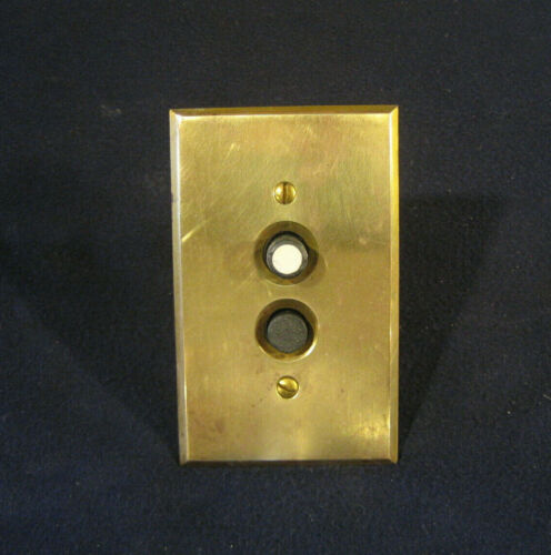 Antique Electrical Porcelian Push Button light Wall Switch Brass Plate Restored