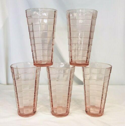 "Vintage Lot of 5 Anchor Hocking Block Optic Pink Ice Tea Glass Tumblers 6"" MCM"