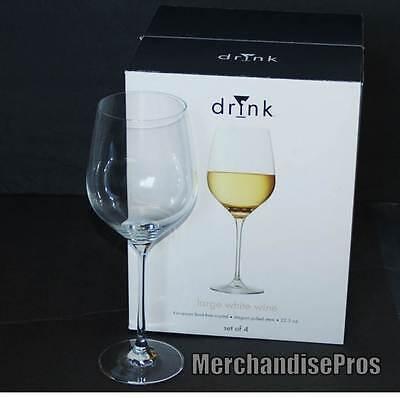 - FOUR (4) 22.5 OZ. DRINK WHITE WINE GLASSES EUROPEAN LEAD FREE CRYSTAL NEW!