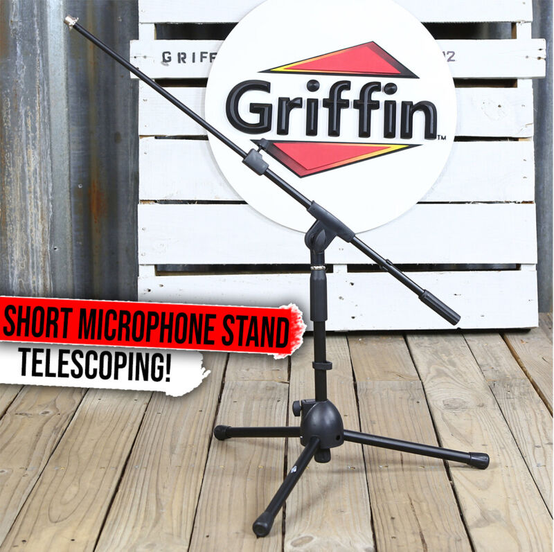 GRIFFIN Short Microphone Boom Stand   Small Low Mic Holder Guitar Amp Mount Drum