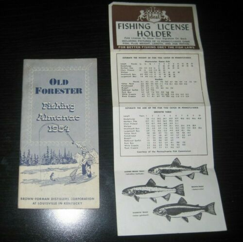 Vintage Old Forester Fishing Almanac 1954 Fishing License Holder