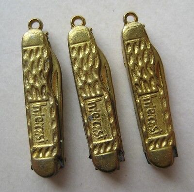 VINTAGE Miniature Tiny POCKET KNIFE Brass Charm Opens! Lot of 3