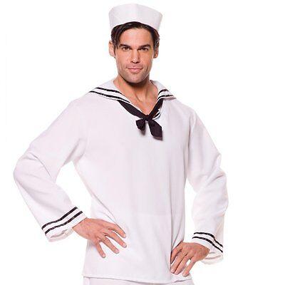 ADULT MENS WHITE SAILOR SHIRT COSTUME SKIPPER NAVY CAPTAIN UNIFORM WITH HAT  - White Navy Uniform Costume