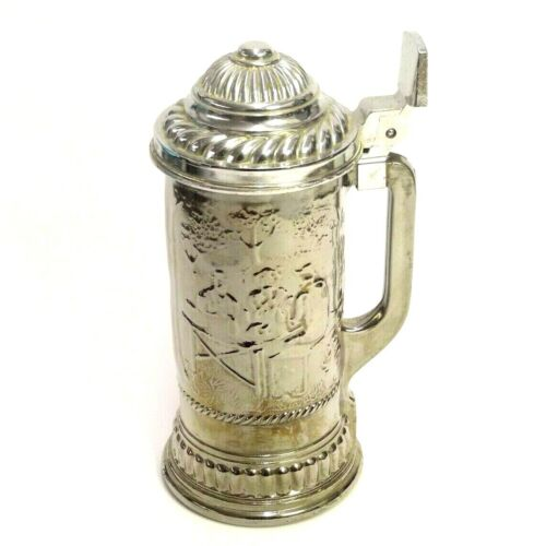 💲 VINTAGE LIDDED AVON INSULATED HEAVY GLASS BEER STEIN SILVER OVERLAY ON GLASS