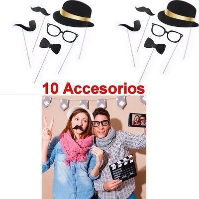 10 accesorios photocall,sombreros,pipas,pajaritas,gafas,bigotes,fiesta,boda,etc