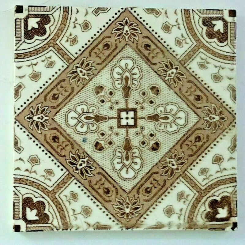 Antique English  Tile  Brown & White Floral Abstract Decoration 1887