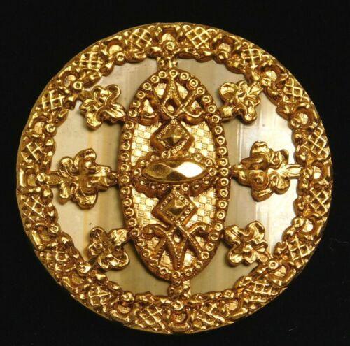 Antique Vtg BUTTON Pristine Large VICTORIAN Celluloid in Ornate Brass #K9