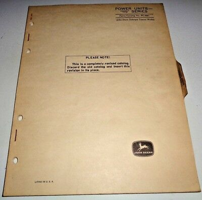 John Deere 115 Series Engine Power Unit Parts Catalog Manual Book Jd