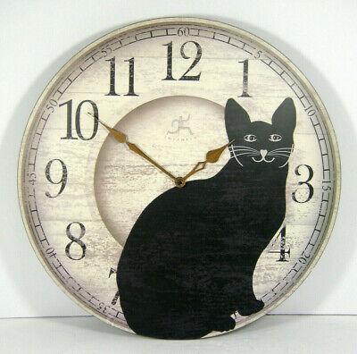 "Infinity Instruments BlackCat Wall Clock Chat Noir Round NO PENDULUM Tail 14"""