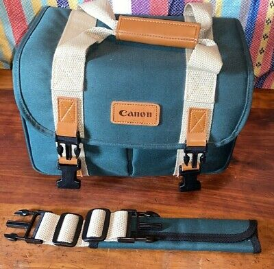 Vintage Canon Camera Bag Green & Tan Nylon Case With Leather Handle Free S/H USA