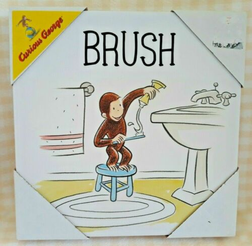 """Artissimo Curious George Canvas Print """"BRUSH"""" Toothbrushing Toothpaste Bathroom"""