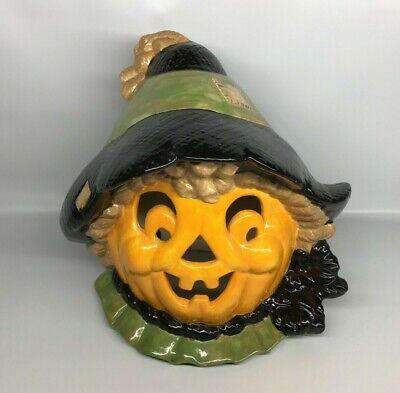 Vintage Halloween Jack O Lantern Scarecrow Ceramic Pumpkin Head Hand Painted