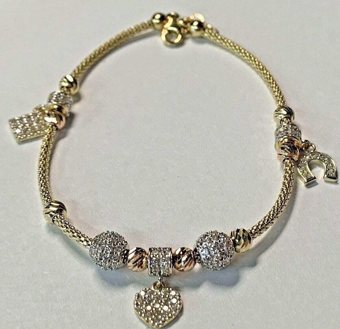 14k Yellow Gold & Cubic Zirconia  Women's Heart Charm Bracelet  7.5 - 8 inch
