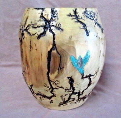 Aspen Holz (Ureinwohner Navajo Handgefertigt Aspen Holz & Türkis Einlage Schale/Vase von Rob)