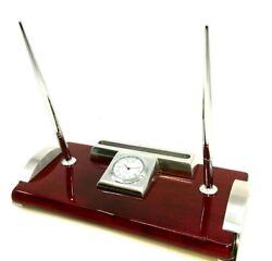 Elegance Silver Clock, 2 Pens, Card Holder Desk Set
