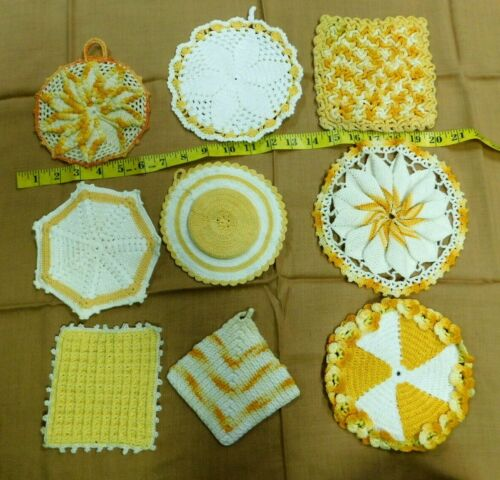 Vintage Crocheted Hot Pads Potholders Lot of 9 Yellow & Orange **