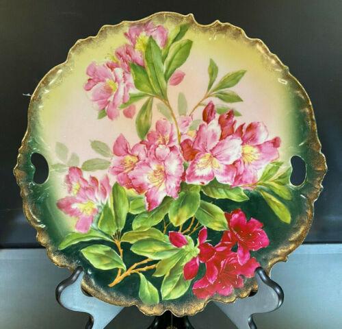 Cake Plate--Hand-Painted--Azaleas--HTF--NO Maker