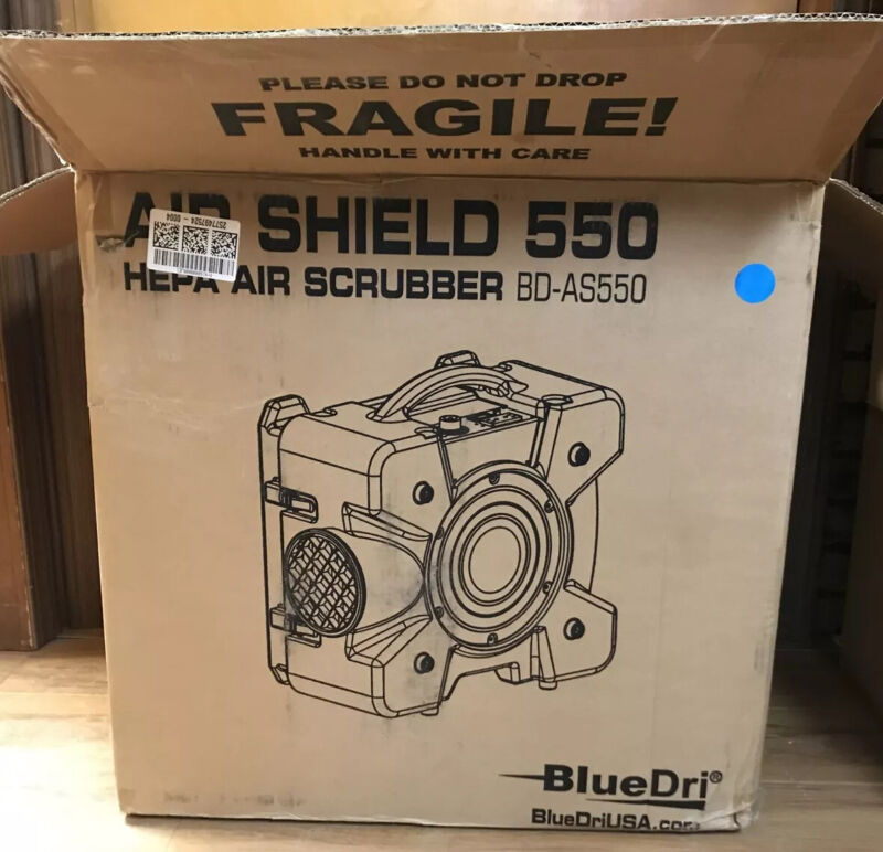 NEW BlueDri AirShield AS-550 HEPA Air Scrubber - Blue