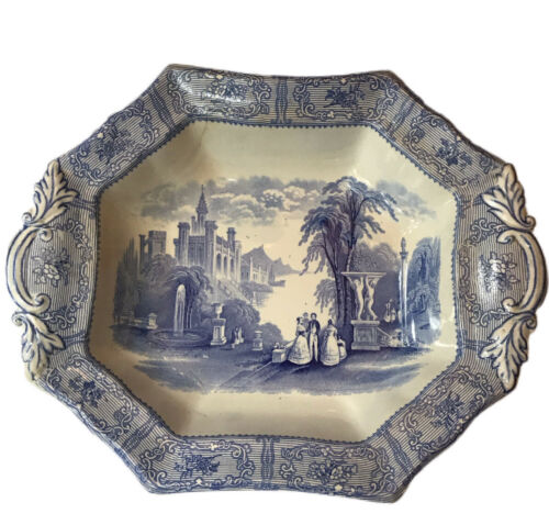 Antique Podmore Walker PW Dish Blue Imprinted Mark 11 1/4 X 9 Raised READ - $36.27