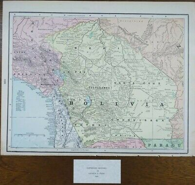 Vintage 1900 BOLIVIA Map 14