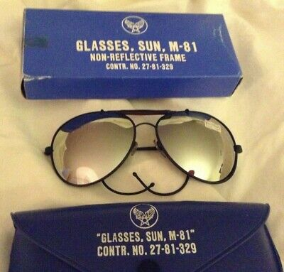 NOS 70s Era Vietnam War Glasses FLYING SUN AVIATOR Never Worn Mirror Lens Case