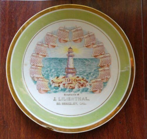 Antique  1910 CALENDAR PLATE SOUTH BERKELEY CALIFORNIA LIGHTHOUSE CA