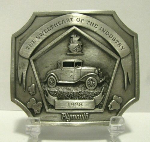 Rare 1928  Plymouth Car Automobile Pewter Belt Buckle Chrysler Maxwell Plant LE
