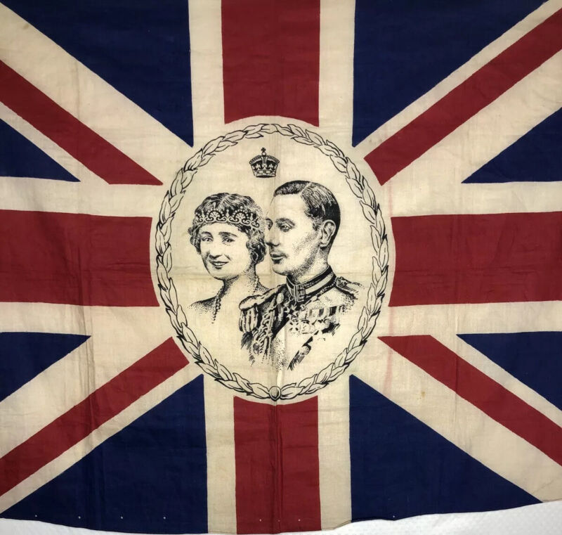 Union Jack Coronation Flag King George VI And Queen Mum England