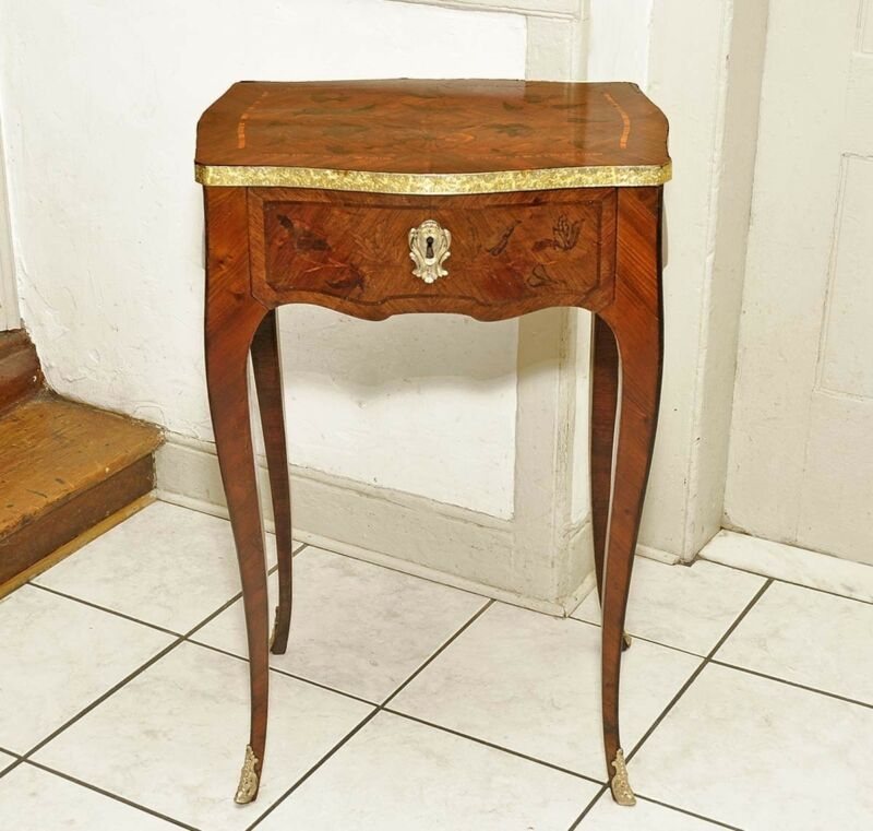 French Louis XV Inlaid One Drawer Rococo Bombe Stand Table C:1870