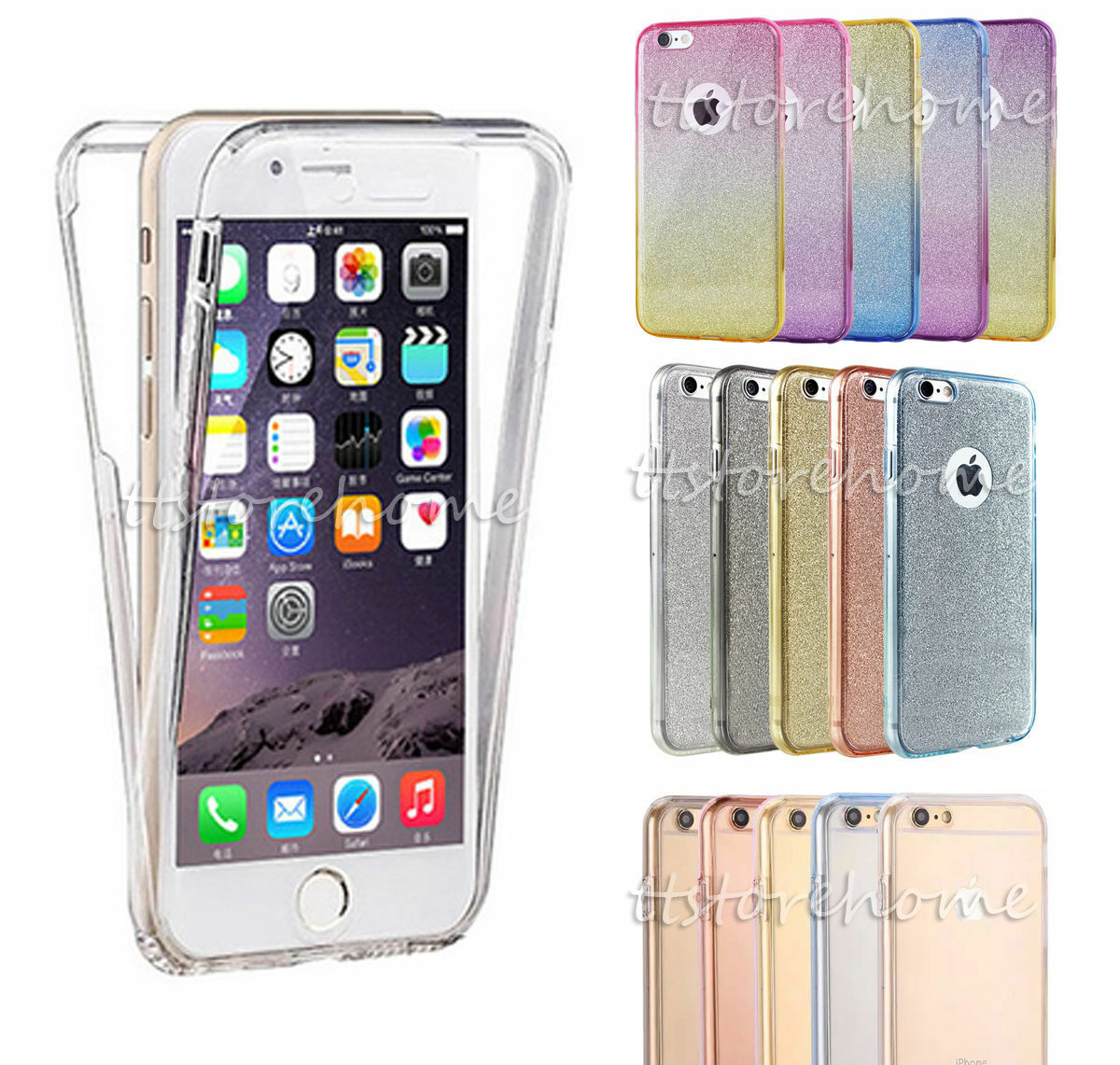 Shockproof TPU 360° Protective Clear Case Cover For Apple iPhone 5 6 6S Plus