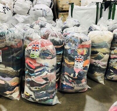 Wholesale Joblot Used Second Hand Clothes Shoes 25Kg Sacks Bags Cream, Grade 1&2