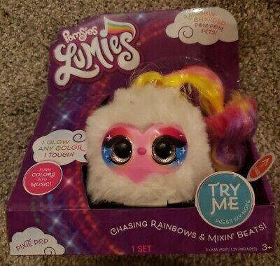 Pomsies Lumies PIXIE POP Pink Plush Unicorn Interactive Toy .Changes Colors