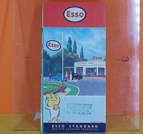 ESSO STANDARD Gas Station / FRANCE HIGHWAY ROAD MAP / in FRENCH Language 1957