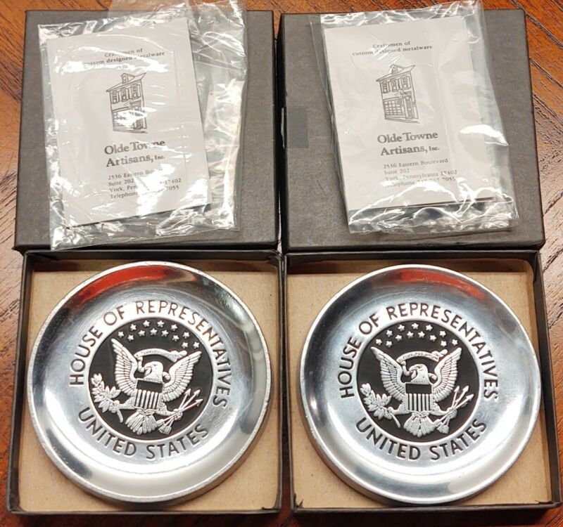 SET Of 2 United States House of Representatives ALLOY Coasters With Original Box