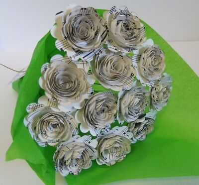 Scallop Sheet Music Paper Flowers for Centerpiece, Musical Theme Party Decor - Music Themed Centerpieces