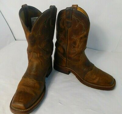 Mens Double H Cowboy Brown Boots Biker Square Toe Oil Resistant DH3560 10D USA
