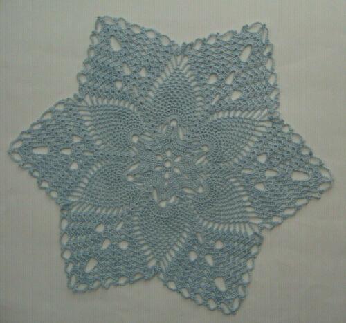 "New Hand Crocheted Pineapple Doily 14"" Bridal Blue Handmade US fall spring c"