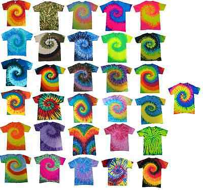 Multi-Color Tie Dye T-Shirts, Adult S M L XL 2XL 3XL 4XL 5XL, 100% Cotton - M & M Colors
